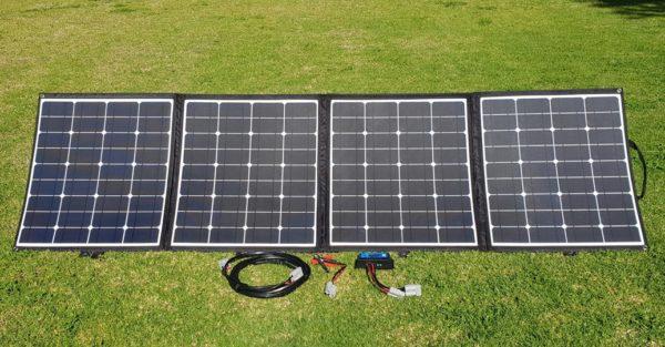 Folding solar panel open